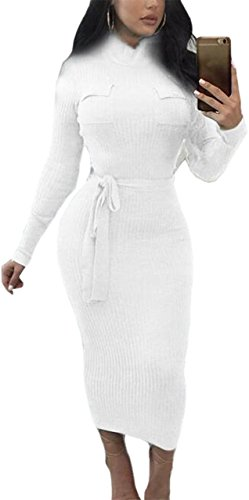 Dress White Maxi Sleeved Belted Long Womens Sexy Bodycon Jaycargogo Elastic Knit 1nfSvqzAw
