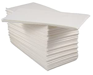 Gentil Pack Of 50 Luxury White Paper Airlaid Disposable Paper Hand Towels   8 Fold
