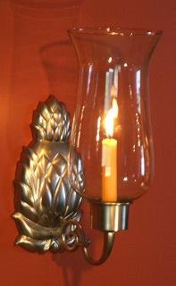 (Brass & Silver Traditions Pineapple Hurricane Sconce, Pewter)