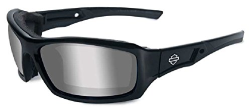 Harley-Davidson HD Echo Silver Flash (Smoke Grey) Lenses in a Gloss Black Frame Sunglasses by - Davidson Sunglasses X Harley Wiley