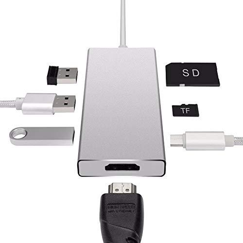 YTBLF 7-in-1 Type hub, HDMI/USB HUB/SD TF Card Converter, 4 K HDMI Output USB-C Charging Port 3 USB 3.0 Port SD/Micro USB 2.0 Card Reader,A