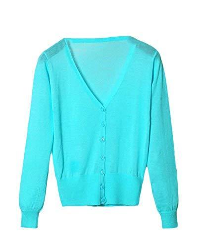 Comodo Monocromo Autunno neck Grazioso Base Stlie Cappotto Fashion Skyblue Knit A Casual V Button Lunghe Donna Primaverile Giacca Giacche Maniche Maglia Eleganti B6PfqC