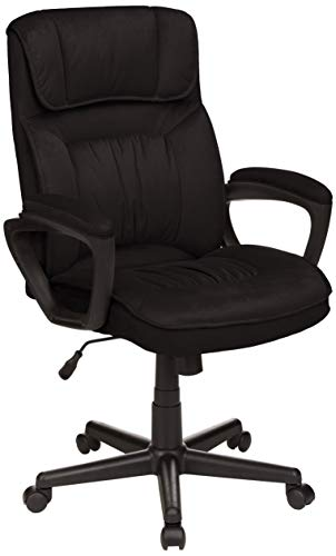 AmazonBasics Classic Office Desk Computer Chair - Adjustable, Swiveling, Ultra-Soft Microfiber - Black, Lumbar Support, BIFMA Certified (Chair Office Table)