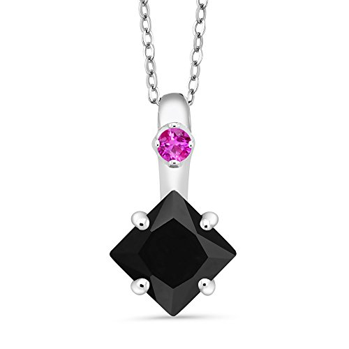 (Gem Stone King 1.58 Ct Princess Black Onyx Pink Sapphire 925 Sterling Silver)