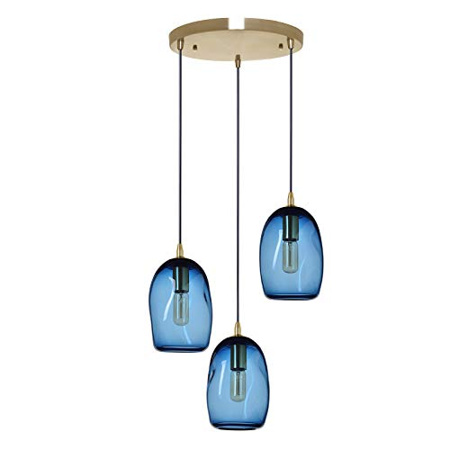 Three Big Shade Light (Casamotion Chandelier Pendant Lighting Handblown Glass Drop Ceiling Lights, Organic Contemporary Style Hanging Light, Grey Blue Glass Shade, Brushed Brass Finish, 3 Lights Chandelier)