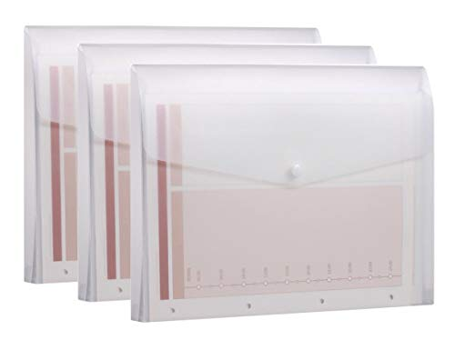 LaOficina Semi Poly Envelope Pocket Folders with Snap Closure,Super Heavyweight Letter Size Clear,3 Per Pack
