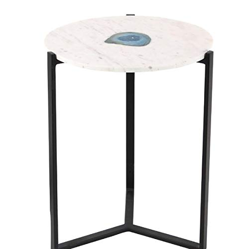 Nesting Iron Base End Table - End Table with Round Marble Top - White (Iron Tables Square Nesting)