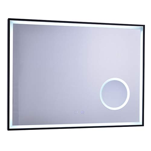 Anpean 32x24 Inch LED Lighted Bathroom Wall Mounted Mirror with 3X Magnification, -