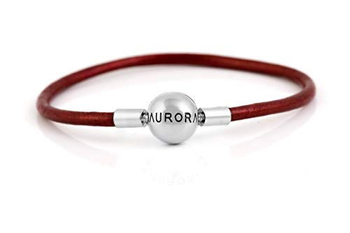 (Brand new Aurora Plain Red Genuine Leather Charm Bracelet with round sterling silver Clasp and optional Stopper S925, Red Leather bracelet & Stopper Spacer lock Charm, Leather Jewellery, fits Pandora)