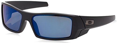 Oakley Men's Gascan 26-244 Iridium Polarized Rectangular Sunglasses, Matte Black /Ice, - Iridium Black Polarized