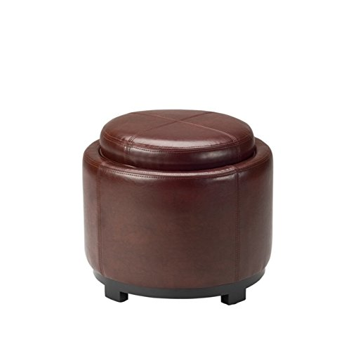 Safavieh Hudson Collection Bowery Cordovan Leather Round Tray Ottoman (Round Leather Tray)