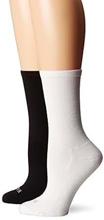 Hue Women's Air Sleek High Crew Sock 2-Pack, Black/White Pack, One Size