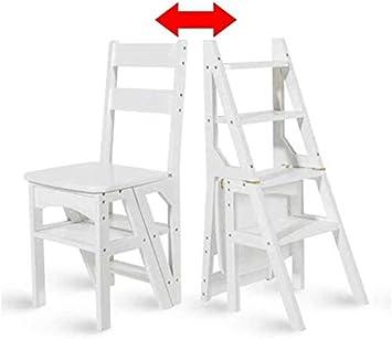 WLG Escalera, Silla plegable de bambú multifunción para uso doméstico Escalera alta Ascend de doble uso, Taburete de escalera,Blanco: Amazon.es: Bricolaje y herramientas