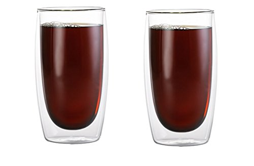Double Wall Coffee Mug - Set of 2 Borosilicate Insulated Glass Latte & Coffee Glasses - Cool to Touch, No Condensation, Dishwasher Safe (15 oz) (Sorrento Post)