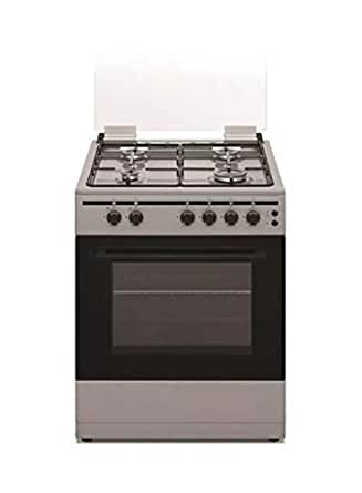 Akai 60X55 cm 4 Burner Full Safety Gas Cooker, Enamel Silver - CRMA-66SC
