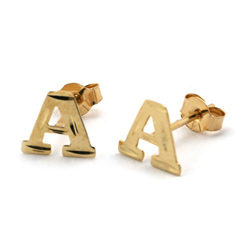 14k Yellow Gold Small Diamond Cut Initial Stud Earrings - E
