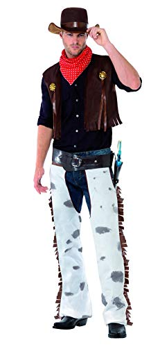 Smiffys Men's Cowboy Costume, Waistcoat, Chaps, Scarf and Hat, Western, Serious Fun, Size L, 20471