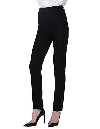 - ANGGREK Women Straight Leg Pants for Work Elastic Waistband Pull-on Slim Trouser Black S