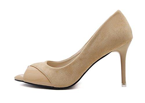 Aisun Damen Elegant Peep Toe Lack Kunstleder Low Top Ohne Verschluss Stiletto Sandale Braun