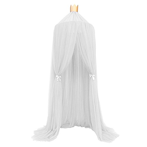 - White Bed Canopy for Girls/Boys/Baby Games House, Mosquito Net for Bed Kids Playing/Reading, Round Dome Netting Curtains Princess Toddler Bed Canopy Play Tent (White)