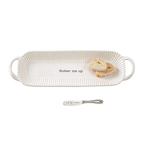 Mud Pie Circa Bread Dish Set, White by Mud Pie
