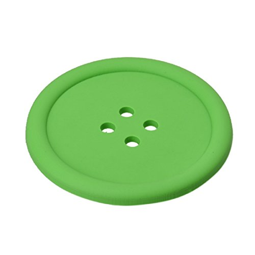 Cup Coaster,Leegor 4pcs Cut Silicone Button Coaster Cup Cushion Holder Drink Placemat Mat (Green)