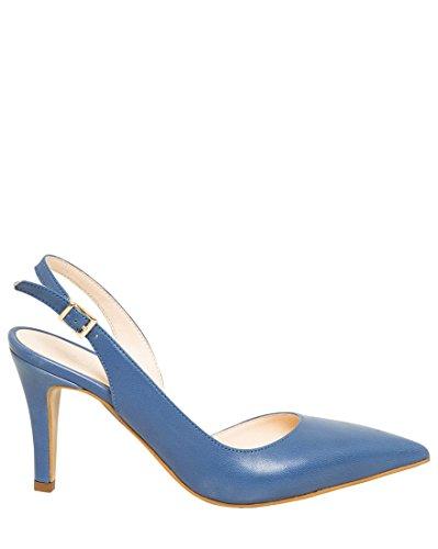 Shoes Leather Slingback (LE CHÂTEAU Women's Leather D'Orsay Slingback Pump,8,Blue)