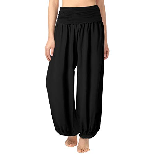 Duseedik Women Casual Adjustable Waistband Patchwork Yoga Loose Palazzo Pants Trouses Black