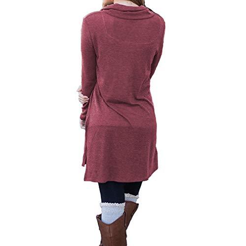 Tinta Manica shirt Felpa S Juqilu Camicia Collo Pulsante Alto Autunno 3 Inverno Unita Lunga Pullover Sciolto Maglietta Primavera T Vestiti 2xl Vestito Casual tRtq6IwO