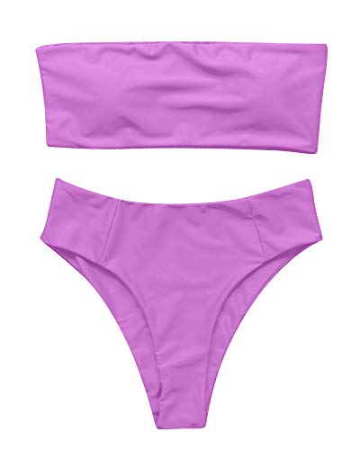 (OMKAGI Women's 2 Pieces Bandeau Bikini Swimsuits Off Shoulder High Waist Bathing Suit High Cut(L,Purple))