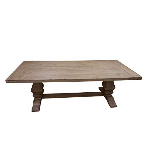 Florence Rectangular Double Pedestal Dining Table Rustic Smoke