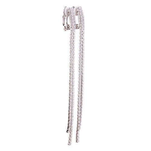 Strand Zirconia Earrings - Platinum Plated or Rose Gold Plated 2 Strands Long Tassel AAA CZ Clip on Earrings Non Piercing for Women (Platinum)