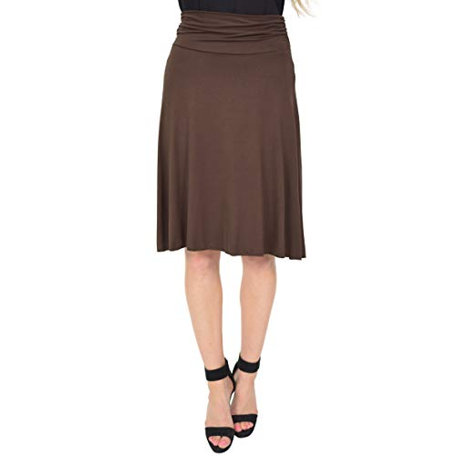 Stretch is Comfort Women's Knee Length Flowy Skirt Brown Large
