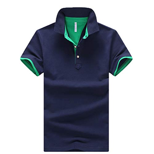 NUWFOR Men's Summer New Pure Collar Cotton Short Sleeves Fashion Casual Comfortable Top(Green,US XL Chest:45.67-47.24