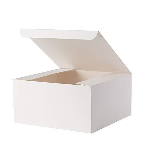 Giftol Gift Box 10 Pack 8 x 8 x 4 inches Fold Box Paper Gift Box Bridesmaids Proposal Box for Bridal Birthday Party Christmas(White)