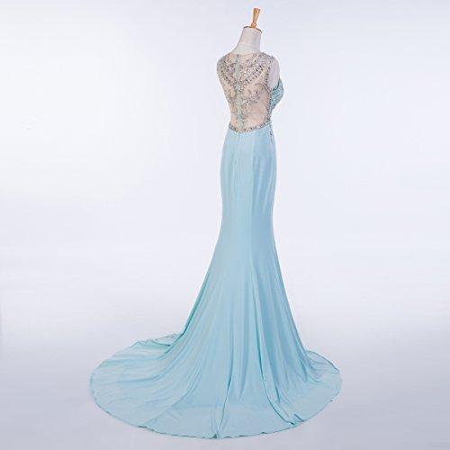 Bridal_Mall - Robe - Portefeuille - Sans Manche - Femme -  bleu - 38