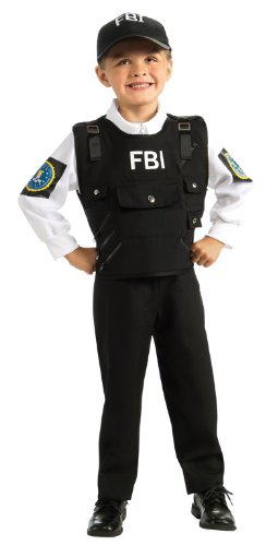 [Young Heroes FBI Agent Costume, Medium] (Army Men Halloween Costumes)