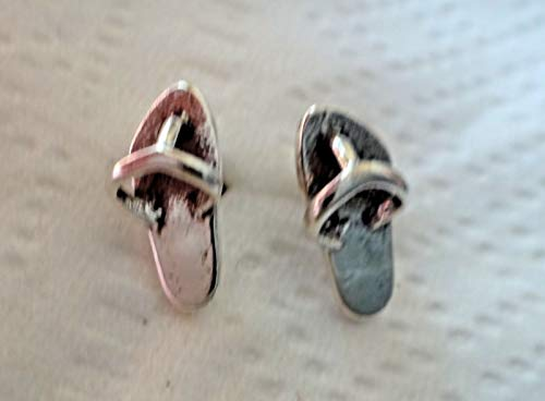 Sterling Silver Tiny 9x4mm 3D Beach Flip Flop Sandals Stud Earrings!