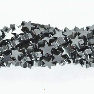 6mm Star Hematite Gemstone Beads, Full Strand ghe0101 Crafting Key Chain Bracelet Necklace Jewelry Accessories Pendants ()