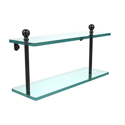 Allied Brass MA-2/16-ORB Mambo Collection 16 Inch Two Tiered Glass Shelf Oil Rubbed Bronze