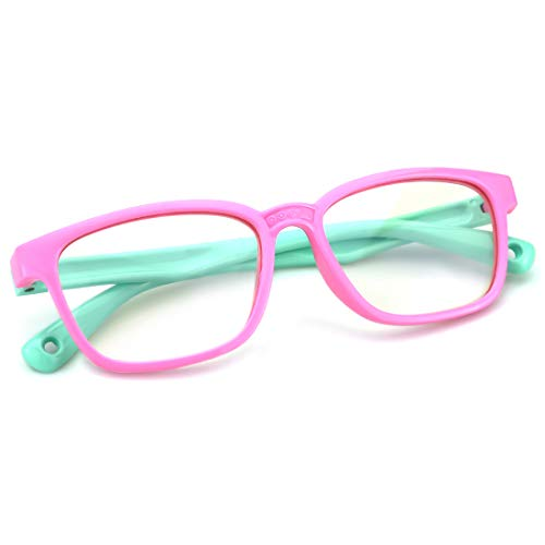 Mimoeye Blue Light Filter kids glasses Flexible Silicone Frame, Pink+Green