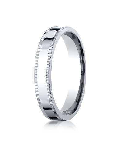 - 14K White Gold 4mm Flat Comfort-Fit Wedding Band Ring for Men & Women Size 4 to 15 with Milgrain