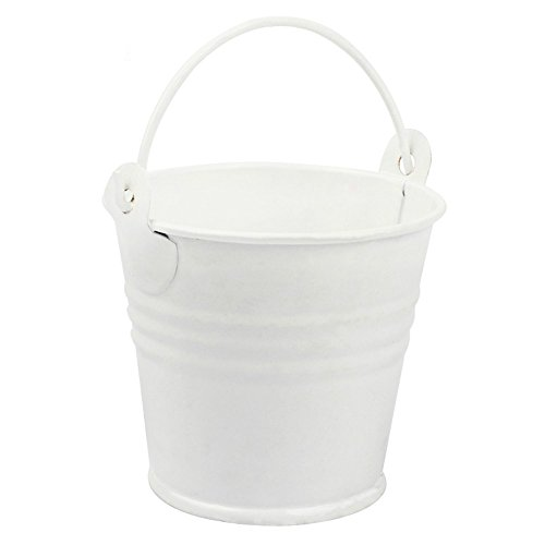 (Yalulu 10Pcs 3 Sizes Metal Bucket Tin Candy Box Buckets Gift Pails for Bridal Wedding Party Baby Showers Favors Decoration (White, 5.5 * 7.5 * 8 cm))