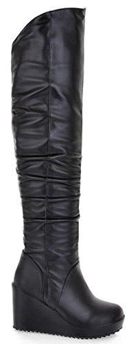 Diffyou Womens Fashion Chic Wig Over De Knie Dij Slofjes Zwart