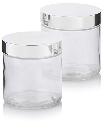 Large Clear Thick Glass Straight Sided Jar with Silver Metal Overshell Lid - 16 oz / 480 ml (2 Pack) + Labels