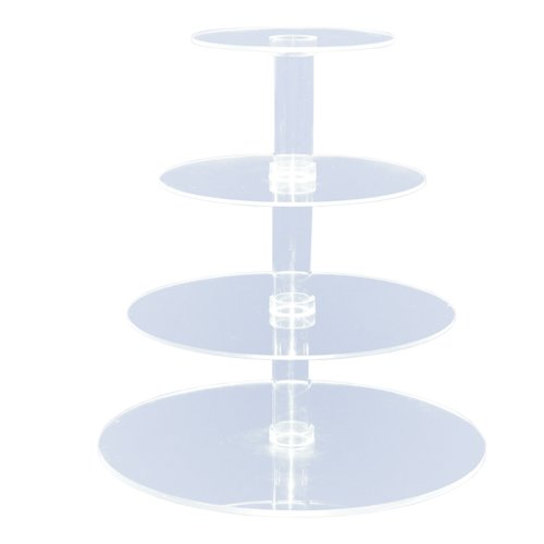 4-Tier Stacked Party Cupcake and Dessert Tower - Clear Acrylic Cake Stand (Round) - BY OFEH by (Minnie Mouse Stand)