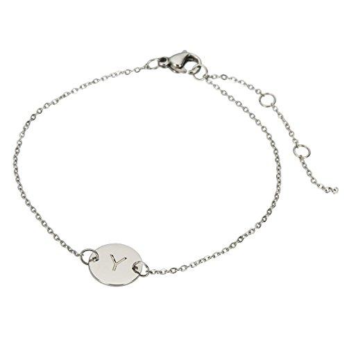 Bracelet Circle Of Friendship (HUAN XUN Stainless Steel Circle Charm Bracelet Y Initial Bangles)