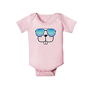 TooLoud Kyu-T Face - Buckley Cool Sunglasses Infant One Piece Bodysuit - Light Pink - 6 Months
