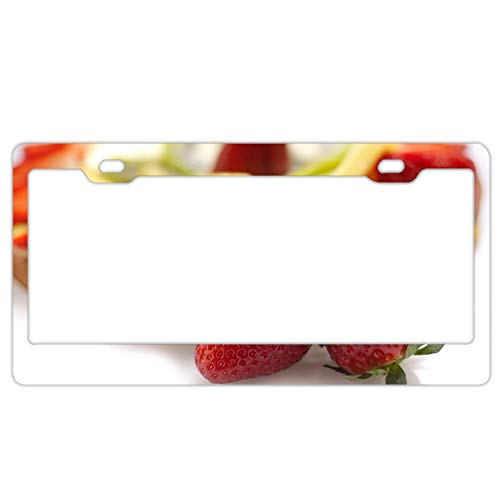 (YEX Abstract Strawberry Cake Layer Berry Fruit5 License Plate Frame Car License Plate Covers Auto Tag Holder 6