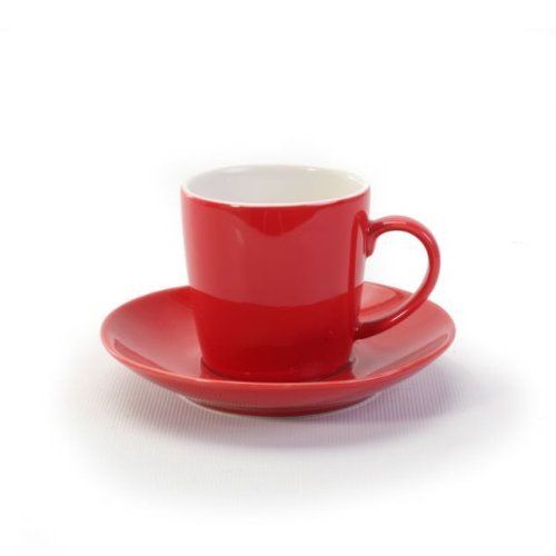 BIA Cordon Bleu 2 Tone Red Espresso Cup and Saucer - Set of 6